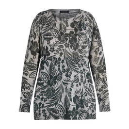 ELENA MIRO FLORAL PRINT SWEATER GREEN - Plus Size Collection