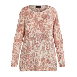 ELENA MIRO FLORAL PRINT SWEATER TAUPE - Plus Size Collection