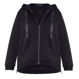 ELENA MIRO QUILTED HOODY BLACK - Plus Size Collection