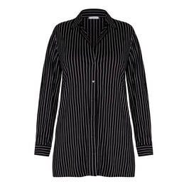 ELENA MIRO LONG PINSTRIPE SHIRT BLACK - Plus Size Collection
