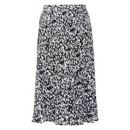 ELENA MIRO FLORAL MIDI SKIRT PLEATED BLACK - Plus Size Collection