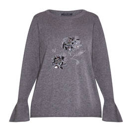 ELENA MIRO EMBROIDERED SWEATER GREY - Plus Size Collection
