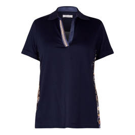 ELENA MIRO POLO COLLAR TOP WITH PAISLEY INSERT - Plus Size Collection