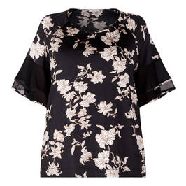 ELENA MIRO FLORAL PRINT TOP WITH CHIFFON SLEEVE - Plus Size Collection