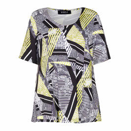 BEIGE ABSTRACT PRINT STRETCH JERSEY TOP BLACK - Plus Size Collection