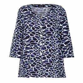 BEIGE GIRAFFE PRINT TUNIC NAVY - Plus Size Collection