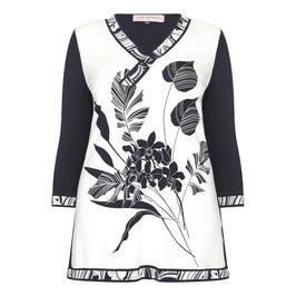 PIERO MORETTI PRINTED TUNIC NAVY - Plus Size Collection