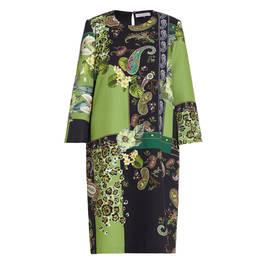 PIERO MORETTI PAISLEY PRINT DRESS GREEN - Plus Size Collection