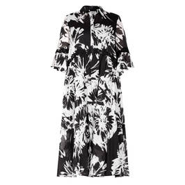 PIERO MORETTI BLACK AND WHITE GEORGETTE MIDI DRESS - Plus Size Collection