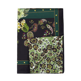 PIERO MORETTI SILK AND WOOL BLEND STOLE GREEN PAISLEY  - Plus Size Collection