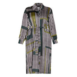 MARINA RINALDI SATIN ABSTRACT STRIPE SHIRT DRESS - Plus Size Collection