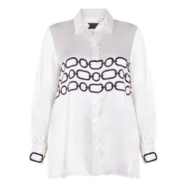 MARINA RINALDI SATIN SHIRT CREAM WITH BLACK DETAIL - Plus Size Collection