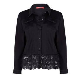 MARINA RINALDI LACE TRIM DENIM JACKET BLACK - Plus Size Collection