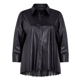 MARINA RINALDI PLEATED BACK FAUX-LEATHER SHIRT - Plus Size Collection