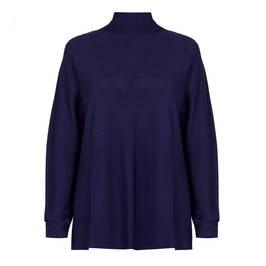 MARINA RINALDI KNITTED TUNIC NAVY - Plus Size Collection
