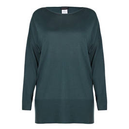 MARINA RINALDI WOOL BLEND KNITTED TUNIC FOREST GREEN  - Plus Size Collection