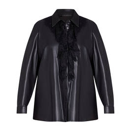 MARINA RINALDI FAUX LEATHER SHIRT WITH LACE BLACK - Plus Size Collection