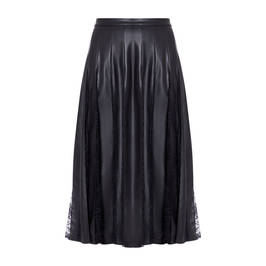 MARINA RINALDI FAUX-LEATHER AND LACE SKIRT BLACK - Plus Size Collection