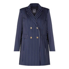 PERSONA BY MARINA RINALDI LONG JACKET NAVY PINSTRIPE - Plus Size Collection