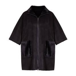 MARINA RINALDI REVERSIBLE CAPE BLACK - Plus Size Collection