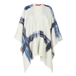 MARINA RINALDI WOOL BLEND PONCHO NAVY AND CREAM - Plus Size Collection