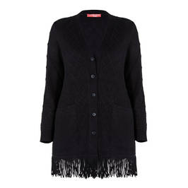 MARINA RINALDI ALPACA BLEND CARDIGAN BLACK - Plus Size Collection