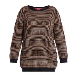 MARINA RINALDI KNITTED TUNIC BLACK AND CARMEL  - Plus Size Collection