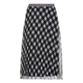 MARINA RINALDI PLEATED TULLE SKIRT BLACK AND WHITE - Plus Size Collection