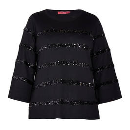MARINA RINALDI SEQUIN STRIPE SWEATER BLACK - Plus Size Collection