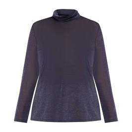 MARINA RINALDI LUREX POLO NECK TOP NAVY - Plus Size Collection