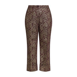 MARINA RINALDI GOLD AND BORDEAUX BROCADE TROUSER - Plus Size Collection