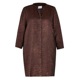 MARINA RINALDI JACQUARD LONG JACKET BRONZE - Plus Size Collection