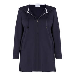 MARINA RINALDI COTTON BLEND HOODY NAVY - Plus Size Collection