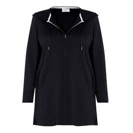 MARINA RINALDI COTTON BLEND HOODY BLACK - Plus Size Collection