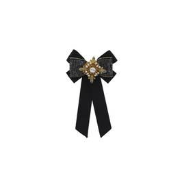 NUR GROSGRAIN RIBBON CRYSTAL BROOCH BLACK - Plus Size Collection