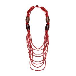 Beige wooden beads multi strand NECKLACE - Plus Size Collection