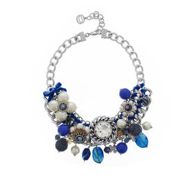 NUR PEARL AND JEWEL NECKLACE BLUE - Plus Size Collection