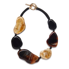 TORTOISE SHELL FLAT PEBBLE NECKLACE  - Plus Size Collection