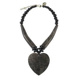 BEIGE DARK WOOD HEART NECKLACE - Plus Size Collection