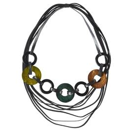 BEIGE JEWEL COLOURS RINGS NECKLACE - Plus Size Collection