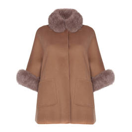 PIAZZA DELLA SCALA REVERSIBLE CAMEL COAT FOX FUR TRIM  - Plus Size Collection