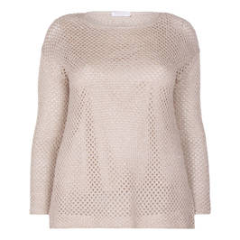 ELENA MIRO MESH LUREX KNITTED SWEATER BLONDE - Plus Size Collection