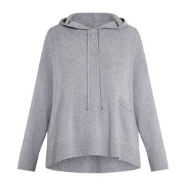 PIAZZA DELLA SCALA PURE WOOL HOODY GREY - Plus Size Collection