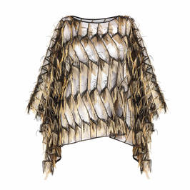PERSONA BY MARINA RINALDI GOLD FRINGE CAPE - Plus Size Collection