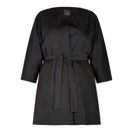 PERSONA BY MARINA RINALDI TAFETA DUSTER BLACK - Plus Size Collection