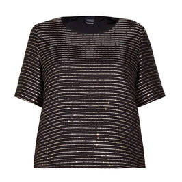 PERSONA BY MARINA RINALDI GOLD STRIPE TOP - Plus Size Collection