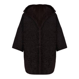 PERSONA BY MARINA RINALDI REVERSIBLE FAUX SHEARLING CAPE BLACK - Plus Size Collection
