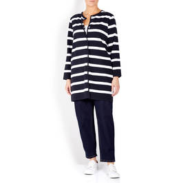 PERSONA BY MARINA RINALDI NAVY AND WHITE LONG CARDIGAN  - Plus Size Collection
