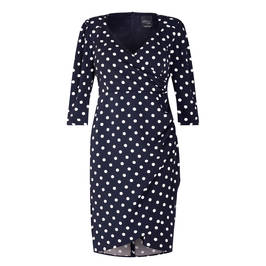 PERSONA BY MARINA RINALDI SPOT PRINT DRESS NAVY - Plus Size Collection