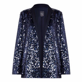 PERSONA BY MARINA RINALDI SEQUIN TUXEDO JACKET NAVY - Plus Size Collection